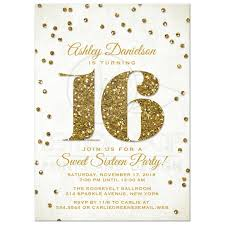 Sweet Sixteen Invitations Cards Sweet 16 Party Invitations Gold Glitter Look Confetti
