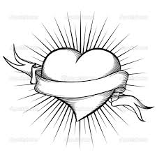 hearts and roses coloring pages heart with ribbon in tattoo