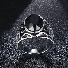 metal stone rings images Natural black stone ring jpg