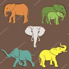 set of elephants color u2014 stock vector dashikka 40422977