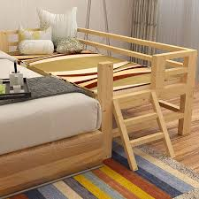 high quality solid wood children single bed with safety guardrail