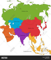 Map Of Western Asia by Colorful Asia Map With Six Regions Stock Photo U0026 Stock Images