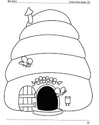 printable beehive coloring page to print preschool animal free