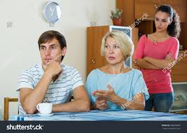 mother in law daughter in law relationship guy having argue wife motherinlaw stock photo 483848383