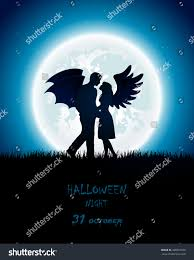 dark halloween night enamored couple angel stock vector 298554938