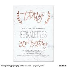 rose gold typography white marble 30th birthday card 30th