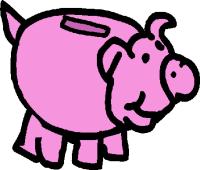 clipart money piggy bank with money clipart