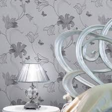 muriva amelia floral silver metallic wallpaper 701414