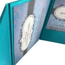 handmade invitations light teal color luxury silk pocket fold design for wedding