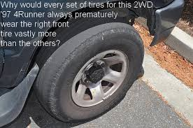 toyota tire wear advice sought for the likely cause of premature front right tire