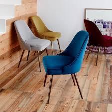 Dining Chair Upholstered Mid Century Upholstered Dining Chair Velvet West Elm