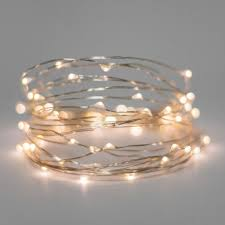 30 warm white battery operated led lights silver wire