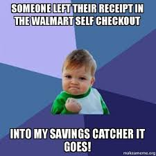 Self Checkout Meme - someone left their receipt in the walmart self checkout into my