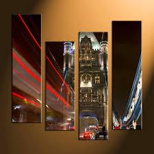 4 piece black car city multi panel canvas