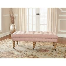 linon home decor isabelle washed pink bench 368253pnk01u the