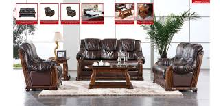 Living Room Sleeper Sets Brown Leather Wood Trim Sleeper Living Room Set