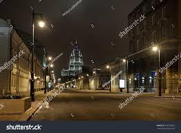 The Armories Winter Garden - night view malaya dmitrovka street cold stock photo 576070063