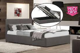 fabric ottoman gas lift storage bed 2 colours u0026 optional mattress
