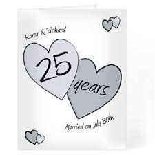 25 wedding anniversary personalised names silver 25th wedding anniversary congratulations