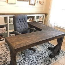 Wood L Shaped Desk Diy L Shaped Farmhouse Wood Desk Office Makeover Hometalk