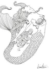 realistic mermaid coloring pages for adults tagged with detailed