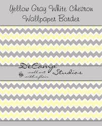 yellow grey chevron wallpaper border decal baby boy nursery
