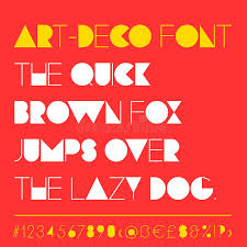 modern art deco related font between retro and futuristic style