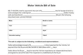motor vehicle bill of sales
