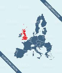 united kingdom map outline vector highlighted in european union