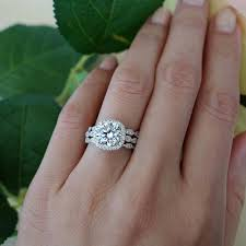 3 engagement rings wedding rings made etsy inside made