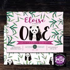 panda 1st birthday invitation panda bithday invite first