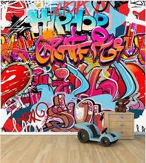 graffiti boys bedroom wall wallpaper mural style 1 childrens bedroom feature wall wm344