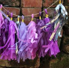 Purple And Silver Baby Shower Decorations 24pcs Lot Silver Plum Purple Tassel Garland Nursery Decor 1st