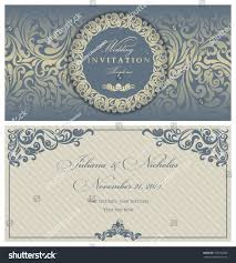 Vintage Wedding Invitation Card Wedding Invitation Cards Baroque Style Blue Stock Vector 168732809