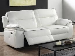 canapé 3 places relax electrique canapé et fauteuil relax en cuir blanc ou noir catane