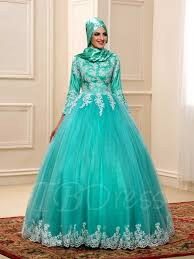wedding dress for muslim appliques lace gown muslim color wedding dress with