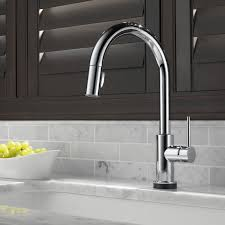 delta single kitchen faucet delta trinsic kitchen single handle pull standard kitchen
