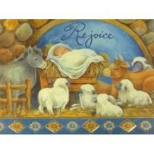 trimmery rejoice baby jesus animals manger christian
