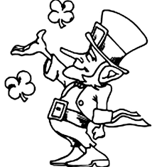 leprechaun playing with four leaf clovers on st patricks day