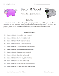 reading comprehension test for grade 4 bacon and wool reading comprehension test collection