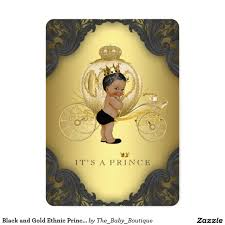 black and gold ethnic prince baby shower card boy baby shower