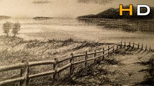 How To Draw Landscapes by How To Draw A Landscape With Pencil Step By Step Youtube