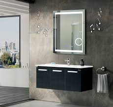 Bathroom Mirror With Clock Led Vanity Mirror With Motion Sensor Switch And Blue Digital