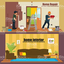 horizontal banners home interior and repairs at home stock vector
