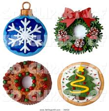 3d clip art of a four 3d christmas ornaments wreath cake and