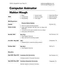 Free Resume Critique 3d Animator Cover Letter
