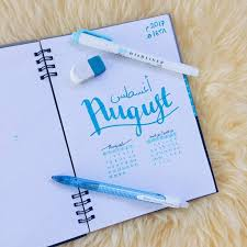 august 2017 bullet journal spread studying amino amino