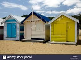 beach huts on brighton beach melbourne victoria australia stock