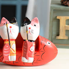 kawaii wedding decoration fishing cat wooden decor crafts garden