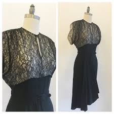 vintage 1930s 40s black lace and crepe georgette party dress